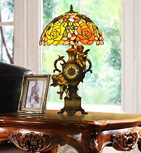 Tiffany Table Angels Lamp (Makenier Vintage Tiffany Style Stained Glass Rose Flower Table Lamp with Angels Clock Base, 14 Inches Lampshade)