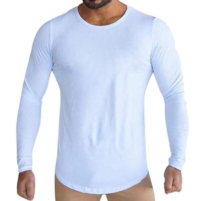 Camisas de Hombre Otoño Invierno Primavera Moda Casual Deportes Sólido Manga Larga Pullover Sudaderas Tops Blusas: Amazon.es: Ropa y accesorios