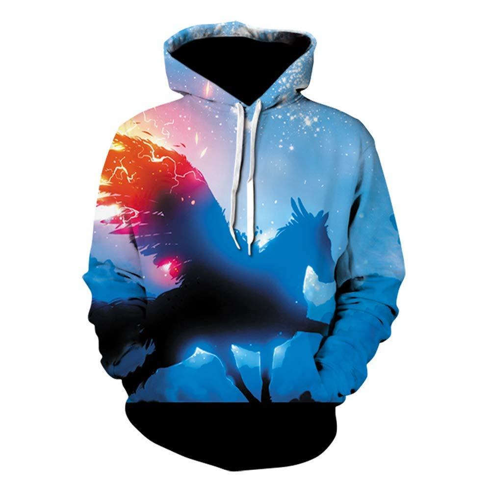 Männer Frauen Frühling lose Pullover Hoodies 3D Print Starry Rundhalsausschnitt mit Langen Ärmeln Wild Hooded Sweatshirts (Farbe   1, Größe   XXL) (Farbe   1, Größe   M)
