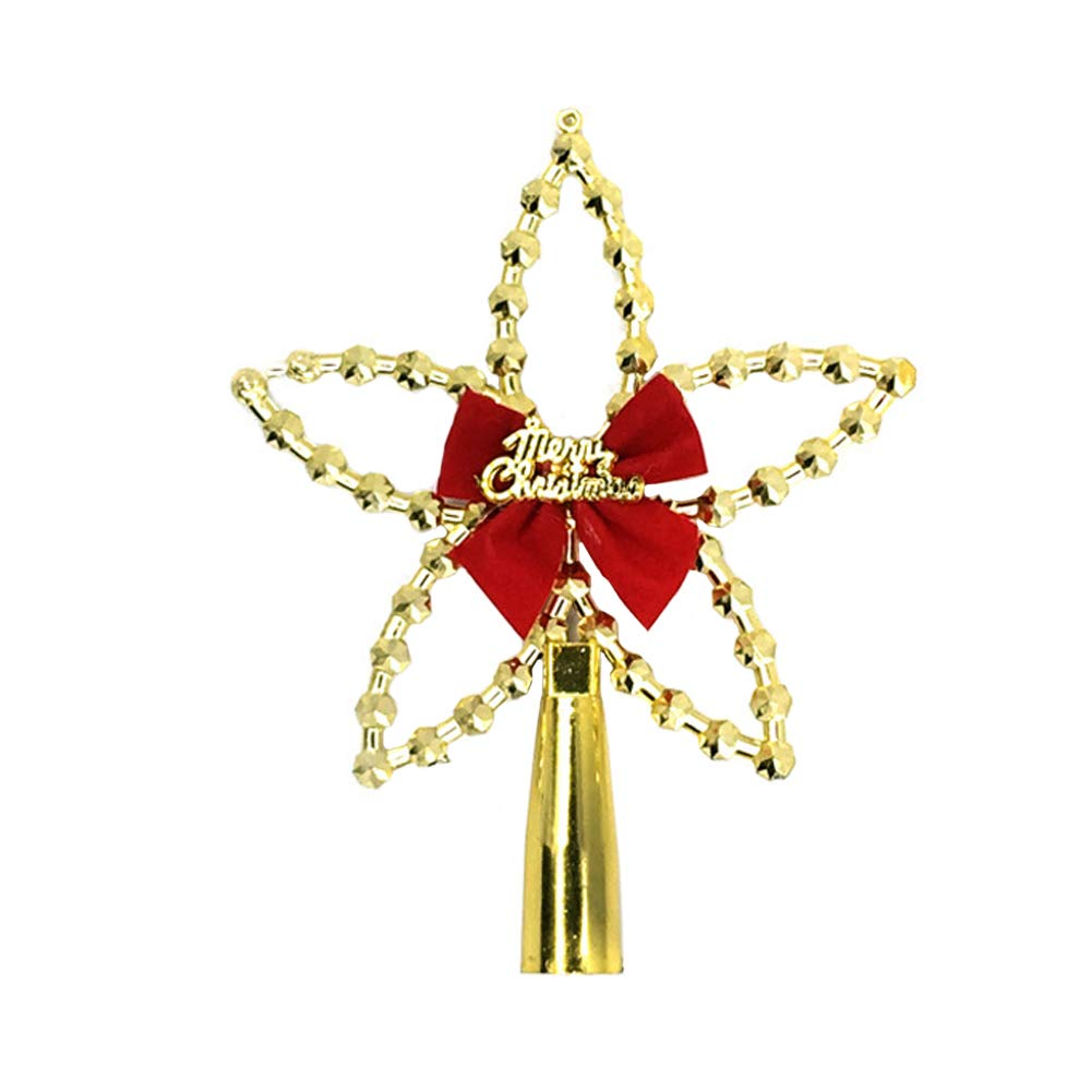 Wintefei Shimmering Christmas Tree Top Decoration Star Topper Home Ornament Bowknot Party Supplies Golden