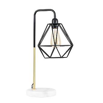 Easric Diamond Black Gold Cage Table Lamp Retro Metal Pyramid Shape