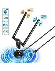 Adaptador WiFi USB 3.0 Adaptador Antena 1200Mpbs Dual Band Receptor WiFi 2 Antenas WiFi de 5dBi Soporte de 5Ghz 867Mbps para PC con Windows XP/Vista / 7/8/8.1/10/ Mac OS/Linux