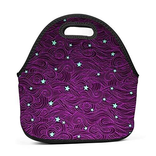 Beautiful Stars Lunch Bag Insulated Reusable Neoprene School Picnic Lunch Box Waterproof Tote Bento Bag With Zippe Handbag For Men, Women, Adults, Kids, Girls, Boys