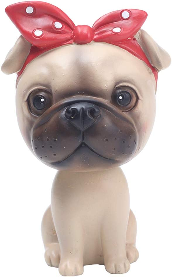 L.DONG Bobble Head Dog Cartoon Car Dashboard Decors Puppy Shaking Head Toys (Pug)