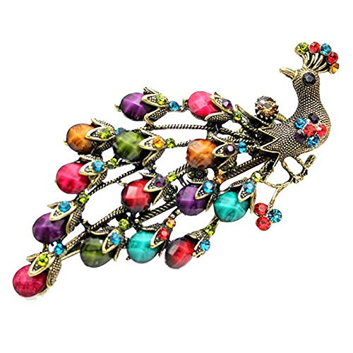 Pin Dragonfly Onyx - Retro Vintage Crystal Alloy Peacock Style Hairpin Duckbill Hair Clips T2X1