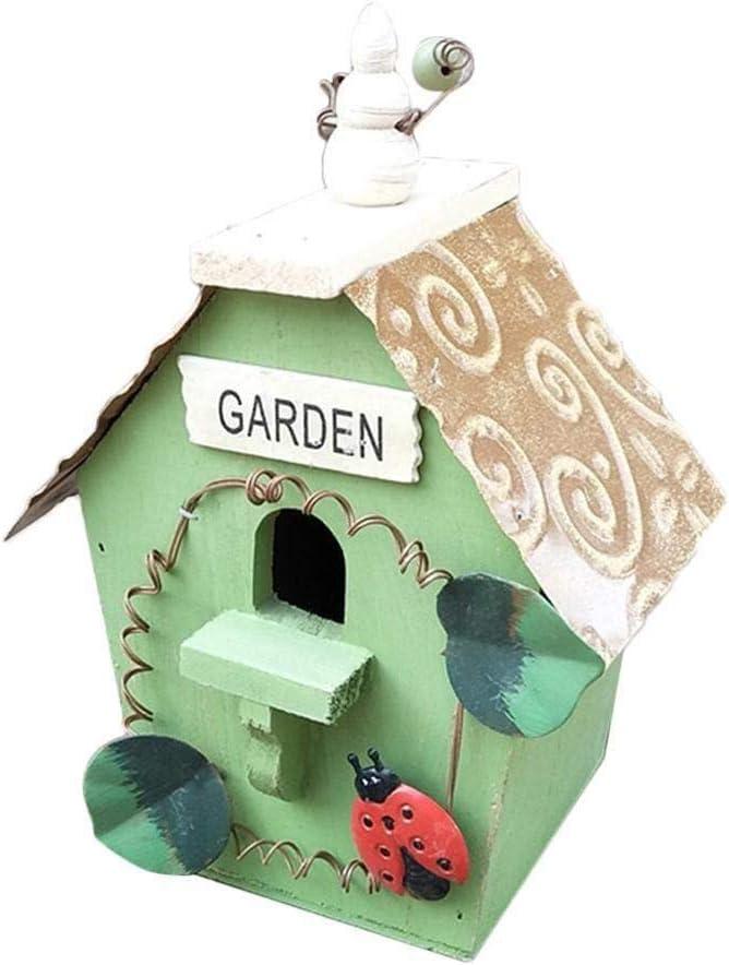 Mascotapara gato perro Birdhouse floral vintage, jardín rústico colgante Birdhouse de madera pintado a mano realista decorativo nido de pájaro accesorios Mascotapara gato perro ( Size : Segundo )
