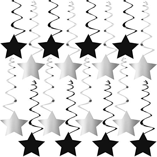 Black and Silver Hanging Star Swirls - No