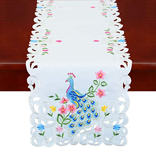 Simhomsen Embroidered Peacock Runner for Table, Dresser or