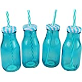 Glass Mini Milk Bottles Pack of 4 With Straws Drinks Party Tableware Lid - Blue