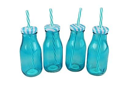 Juego de 4 Mini botellas de cristal de leche botella de 250 ml), color