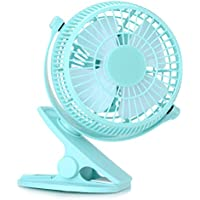 Dealgadgets Mini USB Clip and Desk Personal Fan, 360 Degree Rotation Mini Table Fan with Quiet Operation and Powerful Airflow (Blue)