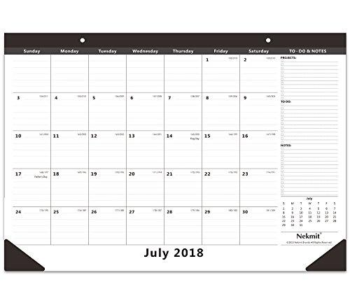 Nekmit Monthly Desk Pad Calendar, July 2018 - December 2019, 16-3/4