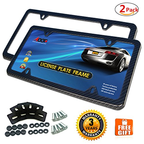 License Plate Frame, New-Carbon Fiber License Plate Frame,Slim Frame Aluminum Plate Frame With Anti-theft License Screw Cap,Extra Gift (4Hole-2Pcs)