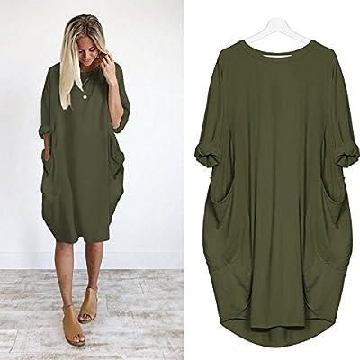 Realdo Women Dress, Crewneck Loose Long Tops Dress Pockets
