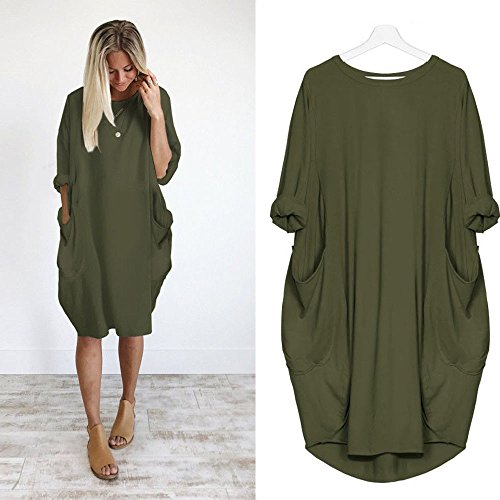(Toimothcn Womens Loose Solid Pocket Dress Casual Crew Neck Long Tops Dress Plus Size(Army Green,XL))
