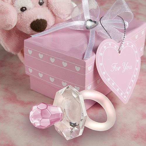 Pink Crystal Pacifier Favors, 120