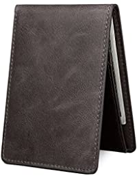 Men's Slim Leather Wallet Small Billfold Front Pocket Wallet with RFID Blocking ID window
