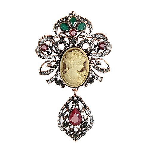 (MENGLINA Fashion Resin Queen Cameo Vintage Brooches and Pins for Women Crystal Flower Antique Bridal Brooch Jewelry)