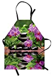 Lunarable Spa Apron, Zen Basalt Stones and Orchid Reflecting on Water Greenery Wellbeing Tropical, Unisex Kitchen Bib Apron with Adjustable Neck for Cooking Baking Gardening, Fren Green Lavander