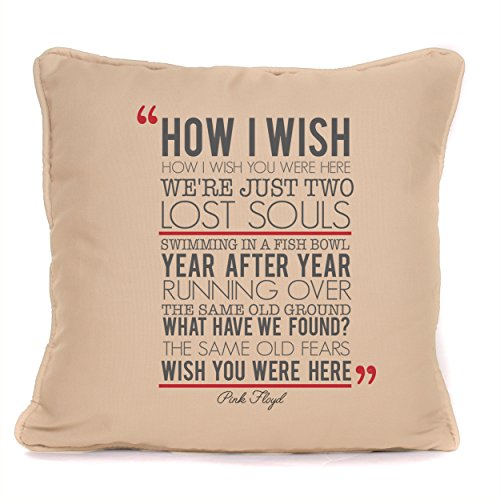Pink Floyd Wish You Were Here Song Lyrics Gift - Cushion Pillow Cover - 18 x 18 Inch - Design 2