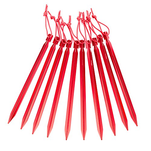 Kalili 9 inch Lengthen Aluminum Alloy Y shaped Tent Stakes Tent Pegs for Camping Hiking 10 Pcs