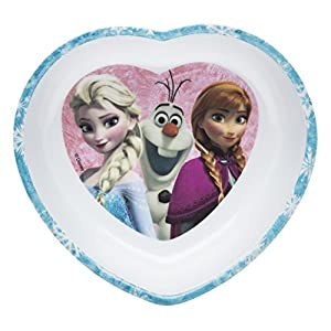 Zak! Designs Heart Shaped Bowl with Elsa, Anna and Olaf from Frozen, Break-resistant and BPA-free Melamine