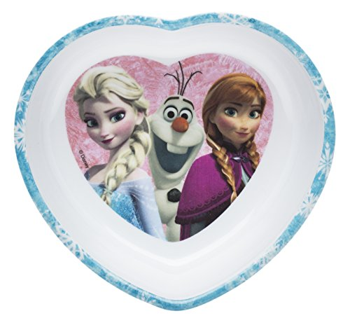 Zak! Designs Heart Shaped Bowl with Elsa, Anna and Olaf from Frozen, Break-resistant and BPA-free ()