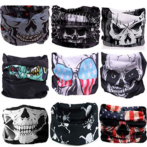 KALILY 9PCS Headband Bandana - Versatile Skully Sports & Casual Facemask –Multifunctional Neck Gaiter, Headwrap, Balaclava, Helmet Liner, Headwear for Halloween, Running, Cycling, Fishing etc