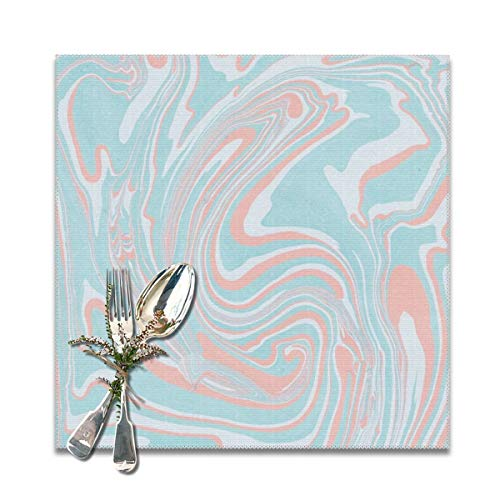Yuteea Aqua Coral Swirl Marble Table Placemats for Dining Table,Washable Table mats Heat-Resistant(12x12 inch) Set of 6