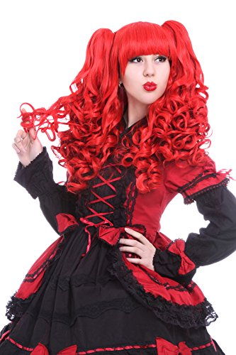 ROLECOS Womens Long Wavy 2 Ponytails Lolita Cosplay Hair Wigs Red (Fancy Dress Red Wig)