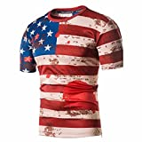 Daoroka Top Blouse,Summer Men Short Sleeve American Flag Slim Independence Day Blouse T-Shirt Fashion Top Hot Sale