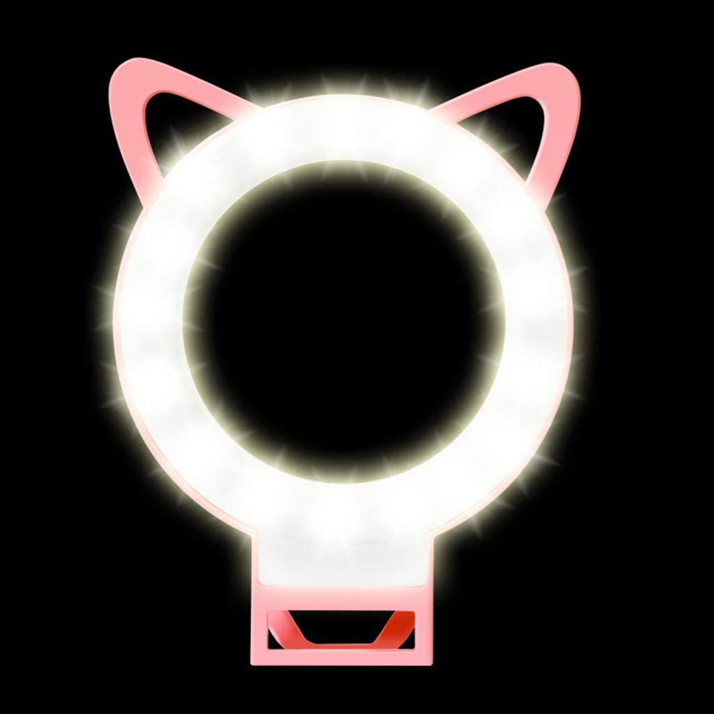 Cat Ear Style Ring Light Simple LED Mobile Phone Flash Ring Light Beauty Photo Live Fill Light Brightness Adjustable Blue