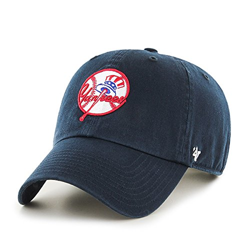 New York Yankees Hat MLB Cooperstown Logo Authentic 47 Brand Clean Up Adjustable Strapback Navy Baseball Cap Adult One Size Men & Women 100% Cotton