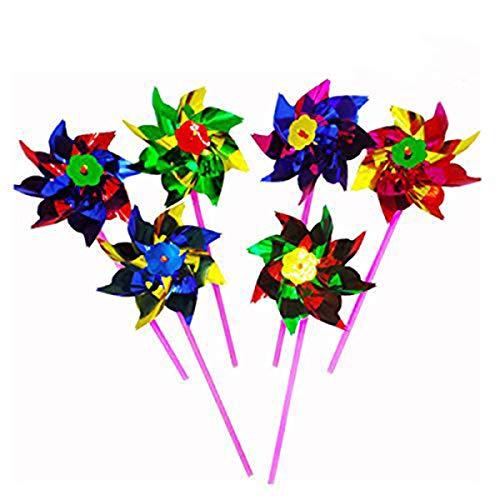 Bombom Tree 100 Pcs Plastic Windmill Pinwheel Wind Spinner Lawn Garden Party Decor Kids Toy, Assorted -
