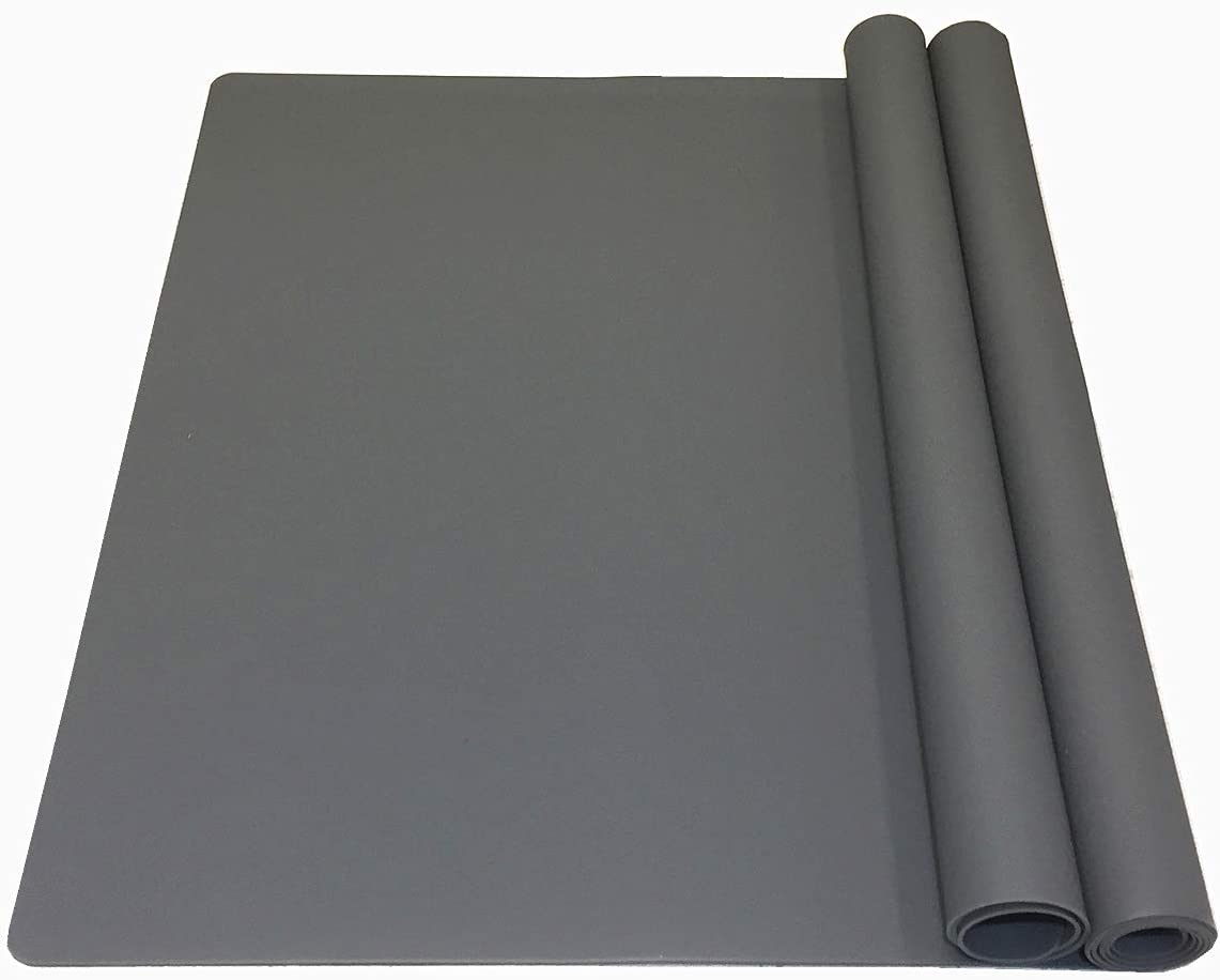 EPHome 2Pack Extra Large Multipurpose Silicone Nonstick Pastry Mat, Heat Resistant Nonskid Table Mat, Countertop Mat, 23.6''x15.75'' (Dark Gray)