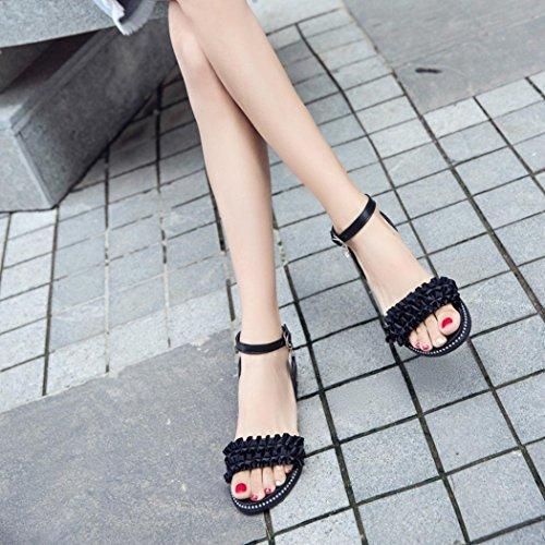 Mujer Logobeing Punta Talón de Zapatillas Sandalias Zapatos por Estar Casa Zapatos Redonda Tacón Negro Sandalias de Cerrojo Playa 5qBFq8