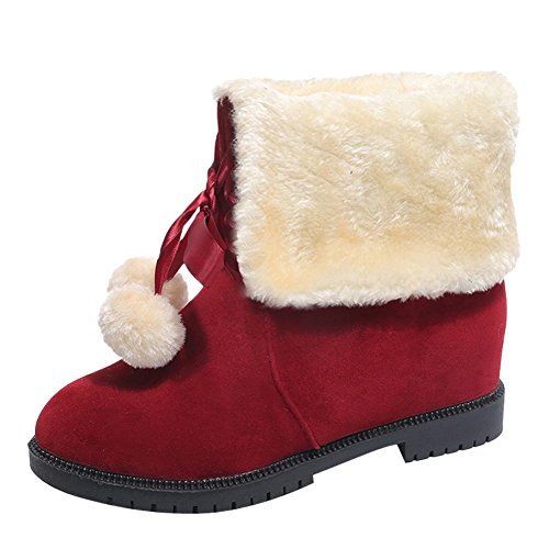 Charm Foot Womens Lace Up Pompon Fodera In Velluto Inverno Mid Boots Da Neve Rosso Vitello