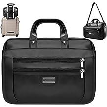14 - 15.6 Inch Stylish Lightweight Premium Leather Business Laptop Messenger Office Shoulder Bag Briefcase Sleeve for Notebook MacBook Ultrabook Chromebook iPad Tablet & Computer