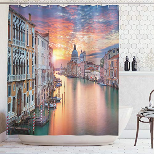 (Ambesonne European Cityscape Decor Collection, Image of Grand Canal in Venice Horizon European Town International Heritage Urban, Polyester Fabric Bathroom Shower Curtain, 75 Inches Long, Multi)
