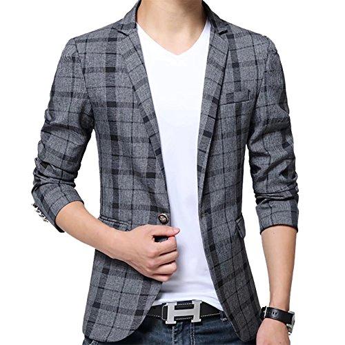 SITENG Men's Blazer Jacket Plaid Slim Fit One Button Notch Lapel Sport Coat Casual Business Coat Single Breasted Outwear Black - Blazers Mens Fall