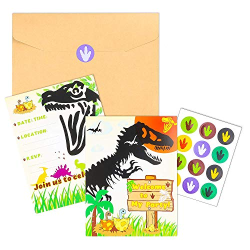 BEYUMI 36 PCS Dinosaur Party Invitation Cards Little Dino T-Rex Inspired Party Favor Supplies, Envelopes, Fill-in-Blank Cards and Stickers for Kids Birthday