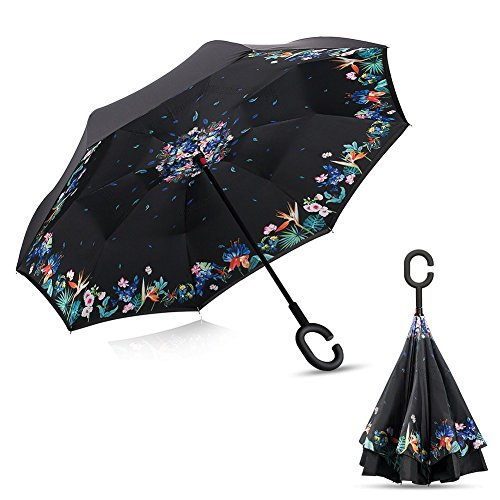 30% OFF Inverted Reverse Umbrella, R • HORSE Double Layer Inverted Umbrella Cars Reverse Umbrella, Windproof UV Protection Big Straight Umbrella With C-Shaped Handle and Carrying (Umbrella Wreath)