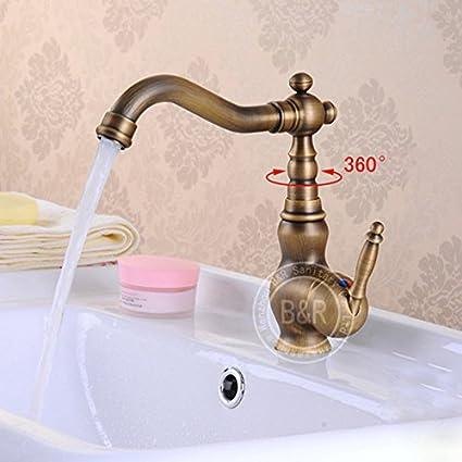 BECOLA Single Handle Antique Bathroom Faucet, Sink Basin Mixer Tap ...