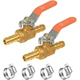 """Hooshing 5/16"""" Hose Barb Mini Ball Valve Pipe Tubing Fitting Brass Shut Off Valve with Clamps for Water Air Fuel,Pack of 2"""