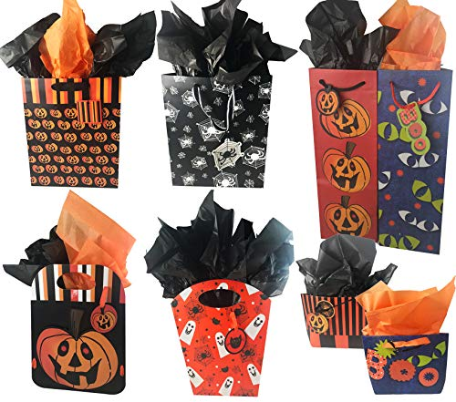 (Halloween Gift Bags Bulk Assortment with Tags and Tissue Paper (Set of)