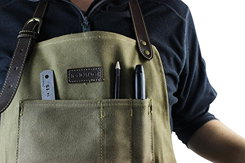 INNO STAGE Tools Apron,Waxed Canvas Work Bib Aprons with Pockets,Full Coverage Utility Apron,Hand Tool Organizers,Gardening Carpentry Lawn Care Accessories for Women and Men by INNO STAGE (Image #5)