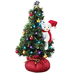 Collections Etc Santa Cat Lighted Tabletop Christmas Tree