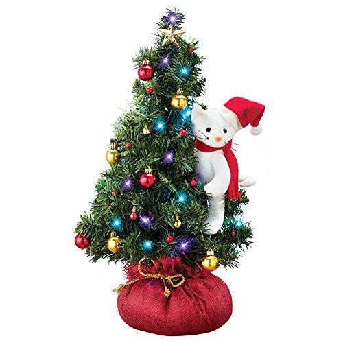 Table Top Lighted Christmas Tree: Santa Cat Lighted Tabletop Christmas Tree
