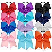 6 Inch Big Cheer Bows Grosgrain Ribbon Ponytail Holder With Elastic Hair Tie For Girls (Pack Of 12)