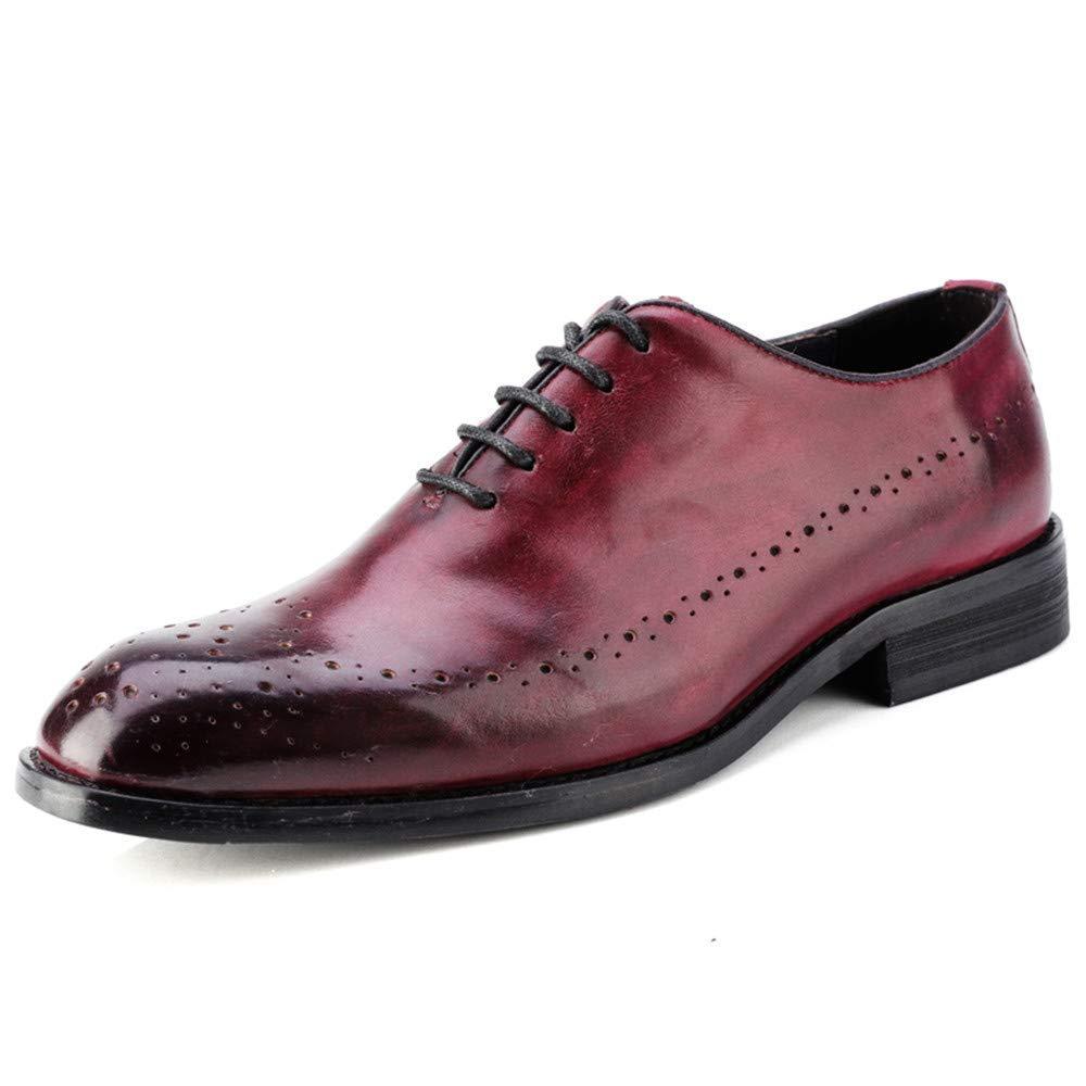 FuweiEncore 2018 Herren Business Oxford Casual Echtes Leder Britischen Stil Carving Gürtel Brogue Schuhe (Farbe   Wein, Größe   42 EU) (Farbe   Wine, Größe   39 EU)